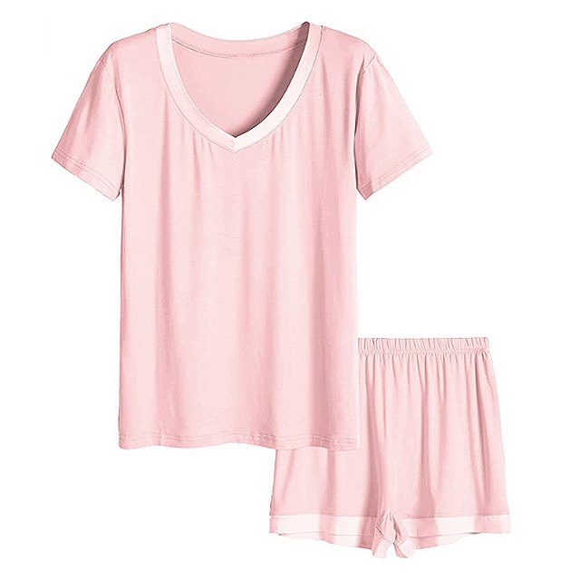 Latuza Women's V-Neck Sleepwear Short Sleeve Pajama Set (Light Pink)