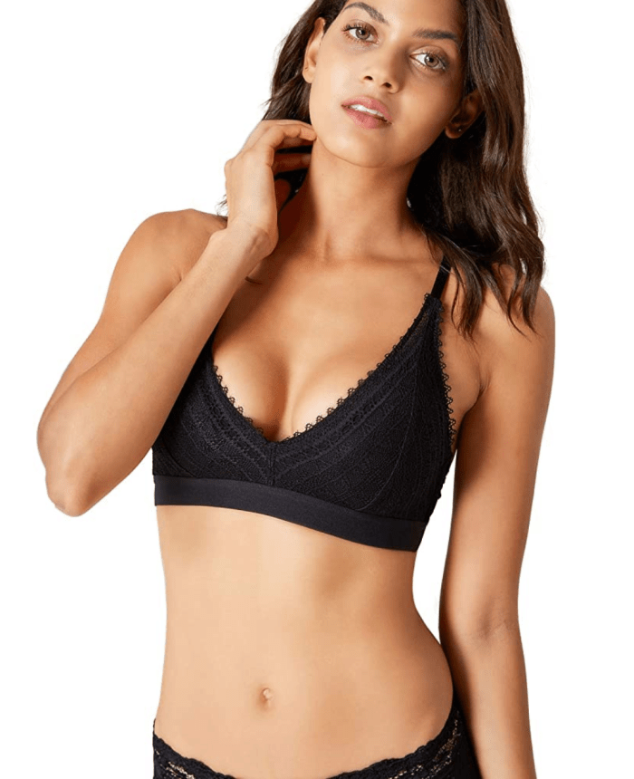 Rolewpy Women's Floral Lace Bralette Plunge Deep V Removable Pad Wirefree Bra