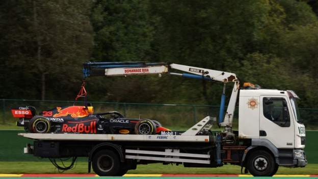 Belgian Grand Prix: Max Verstappen quickest for Purple Bull regardless of crash