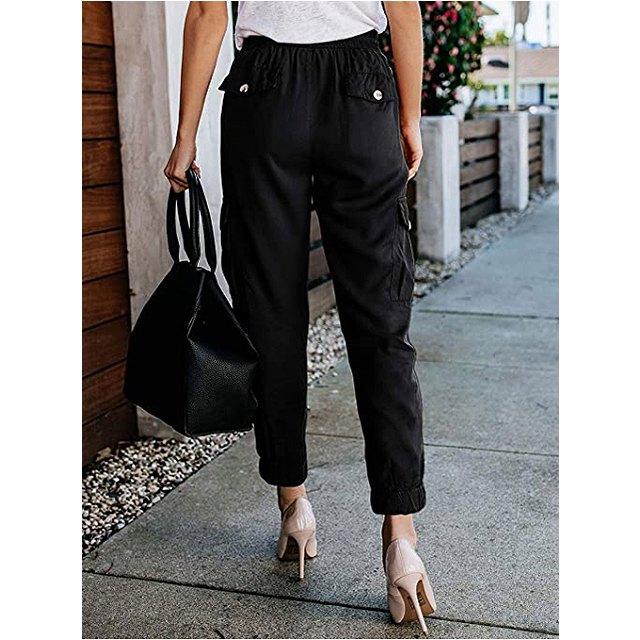 Meilidress Women's Elastic Waist Cargo Casual Drawstring Jogger Trousers (Black)